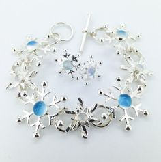 Silver Snowflake Bracelet with Moonstones  Christmas by MaryColyer