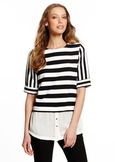 GRACIA Short Sleeve Striped Dress with Contrast Skirt