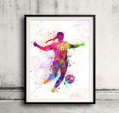 Girl soccer football player playing 01  SKU 0707 by Paulrommer