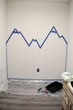 Step 1 Mountain Mural Tutorial - Easy and quick step by step DIY mountain mural tutorial for how to paint a mountain mural on a budget. Cute nursery wall idea for a mountain themed room. Kids Room Murals, Kids Room Paint, Wall Murals, Room Wall Painting, Diy Painting, Baby Boy Rooms, Baby Room, Girls Bedroom, Master Bedroom