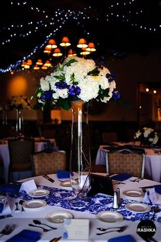 White and royal blue wedding. Flowers by Elaine Taylor Fine Flowers. Wedding by… Wedding 2015, Blue Wedding, Wedding Colors, Wedding Events, Wedding Flowers, Dream Wedding, Weddings, Wedding Arrangements, Wedding Centerpieces