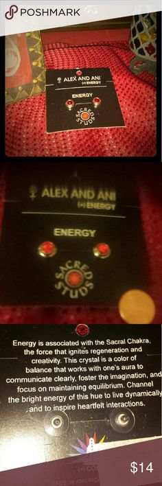 Alex and Ani Energy Sacred Earring Studs Orange Red Alex and Ani Energy Crystal Studs in Silver.  This crystal is the color of balance that fosters clear focus, communication, and equilibrium. New, never, used. Price tag wad taken off, see 3rd pic. Alex & Ani Jewelry Earrings