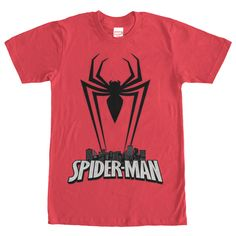 Celebrate Spider-Mans protection over New York City with the Marvel Spider-Man Spider Silhouette Red T-Shirt! This awesome red Marvel shirt prominently displays a silhouette of Spider-Mans spider logo perched as a protector over a cityscape of NYC.
