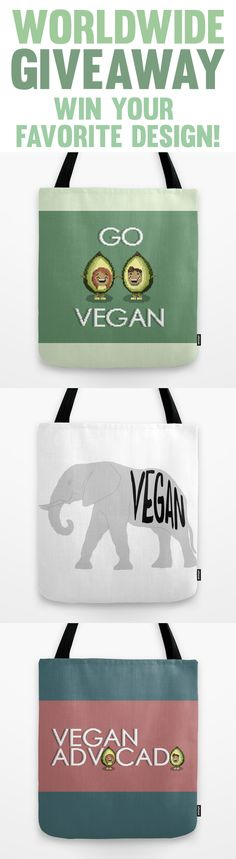 I'm giving away three tote bags from my shop! Vegan Tote Bags, A Day To Remember, Vegan Beauty, Have Some Fun, Vegans, Going Vegan, Cruelty Free, Vegan Vegetarian, Free Food