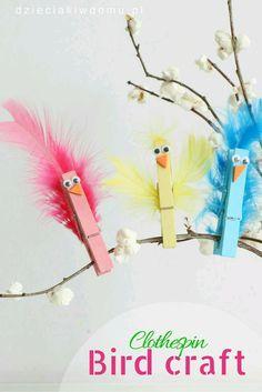Clothespin bird craft idea for kids bird crafts preschool, easter crafts kids, spring crafts Easter Crafts For Kids, Crafts To Do, Preschool Crafts, Diy For Kids, Easy Crafts, Children Crafts, Spring Kids Craft, Spring Toddler Crafts, Birds For Kids