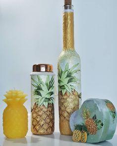 """2 kedvelés, 0 hozzászólás – special handmade decor (@biborvarazs) Instagram-hozzászólása: """"🍍Pineapple collection. 🍍Ananász kollekció.  www.facebook.com/biborvarazs www.biborvarazs.etsy.com…"""" Facebook, Bottle, Gifts, Etsy, Instagram, Home Decor, Presents, Decoration Home, Room Decor"""