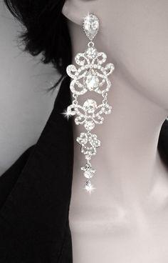 Longrhinestone chandelier earrings  Crystal by QueenMeJewelryLLC