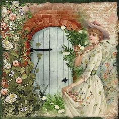 The Garden Door | Digital Scrapbooking at Scrapbook Flair ❤ liked on Polyvore featuring backgrounds, people, victorian, vintage and art