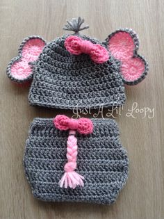 Crochet Newborn Elephant Outfit by JustALilLoopy on Etsy