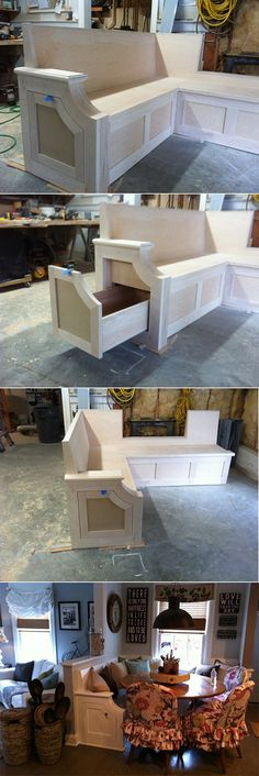A window seat / kitchen seat with a hidden side pull out drawer.