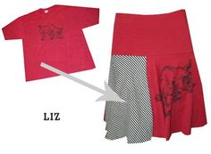 I'm a huge fan of t shirt reconstruction but skirts I feel are hard to do due to the print of the t shirt looking unnatural as a skirt. But the answer is so simple: Just more to print to the side and make it patchwork! I think this reconstruction from Lekkner is great.