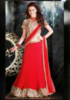 Red Color Net and Santoon Lehenga Choli with Dupptta