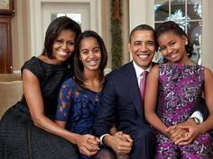 President Barack Obama & First Lady Michelle Obama & daughters Malia & Sasha.