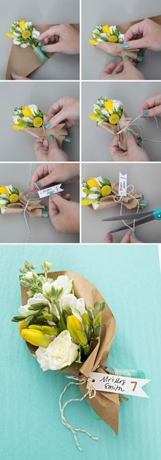 2e142318778 Make your own mini bouquets as seating cards or favors! Floral Bouquets