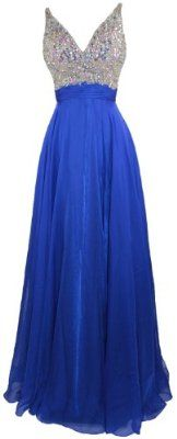 Meier Women's Rhinestone A Line Formal Chiffon Prom Dress Royal 14