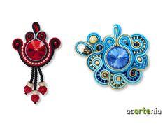 Colgantes de soutache con Swarovski.  Precio rojo 15€ / $20 azul 25€ / $33.  http://www.asartenia.com/