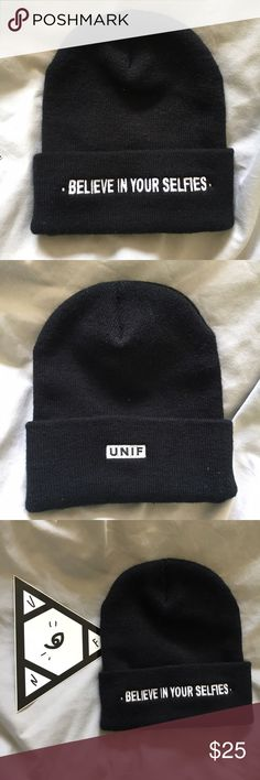 UNIF beanie Black beanie with front embroidery. •Believe in your selfies• Never been worn. UNIF Accessories Hats
