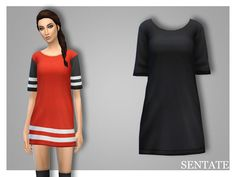 A 'boyfriend' fit tee dress with drop shoulders and baggy sleeves. Glam it up with heels or just use it for some comfy pjs! Comes in 12 colour options.  Found in TSR Category 'Sims 4 Female Everyday'