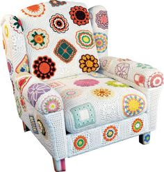 I really love the look of this! Crochet motifs make this a fun and funky chair.