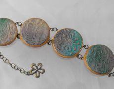 Orient - Polimer clay bracelet Clay, Bracelets, Gold, Handmade, Jewelry, Bangle Bracelets, Hand Made, Jewlery, Schmuck
