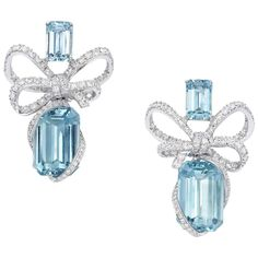 Swoon over Lyla's Bow Aquamarine Earrings by VanLeles. These stunning drop earrings feature sparkling diamond bows cradling gorgeous emerald cut aquamarine. Aquamarine Earrings, Gold Diamond Earrings, Bow Earrings, Platinum Earrings, Diamond Necklaces, Dainty Earrings, Cartilage Earrings, Leather Earrings, Bridal Earrings