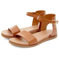 Wide Fit Tan Ankle Strap Sandals ($11) ❤ liked on Polyvore featuring shoes, sandals, flats, open toe flats, ankle tie flats, ankle wrap flats, wide sandals and wide flat shoes