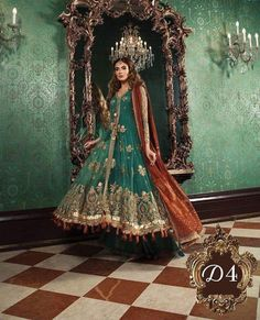 Maria B Wedding Edition Aquamarine & Dull Tangerine BD 1504 2018 Price in Pakistan famous brand online shopping, luxury embroidered suit now in buy online & shipping wide nation. Pakistani Bridal Dresses, Pakistani Dress Design, Pakistani Designers, Bridal Anarkali Suits, Anarkali Gown, Punjabi Wedding, Costumes Anarkali, Angrakha Style, Bridal Dress Design