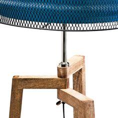 Staande lamp Wire Tripod - mangohout/katoen/ijzer