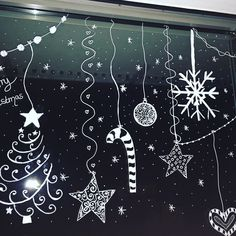 Wallpaper Gifts New Hand Painted Christmas Stickers Wi - Paper Flower Backdrop Wedding Christmas Drawing, Christmas Paintings, Paper Flower Backdrop Wedding, Christmas Window Decorations, Theme Noel, Window Art, Christmas Stickers, Cozumel, Chalkboard Art
