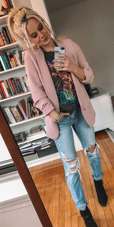 Pretty Spring Outfits To Update Your Wardrobe Pink Blazer Outfits, Cute Outfits, Pink Blazers, Pink Mini Dresses, White Mini Dress, Black Long Sleeve Shirt, Pink Jacket, Spring Outfits, Clothes