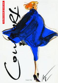 Devernois - 1992 - Croquis de Nicole Pibeaut, célèbre illustratrice, spécialement réalisé pour Devernois http://www.devernois.fr/maison-devernois/ #chic #nicolepibeaut #devernois #modefemme #histoiremode #pub #croquis