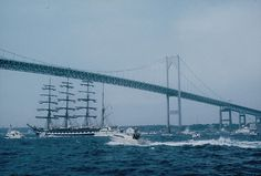 Tall Ships Newport RI 1976 (5) by italiangerry, via Flickr…saw so many sailing in as we drove over this bridge…with fog swirling around us!