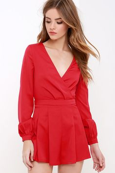 It's Smooch-ual Red Long Sleeve Romper at Lulus.com!