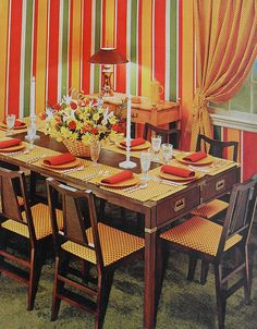 1972 Striped Graphic Drapes Dining Room Vintage 1970s Interior Design Photo by Christian Montone