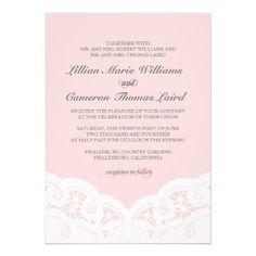 Elegant Blush Lace Wedding Invitation