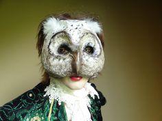 Paper mache owl mask owl costume bird mask by MiesmesaBerni Making Paper Mache, Paper Mache Mask, Paper Mask, Owl Mask, Bird Masks, Leather Mask, Mask Shop, Beautiful Mask, Animal Masks