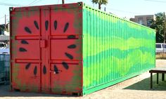 Shipping container painted like a watermelon by volunteers during ...