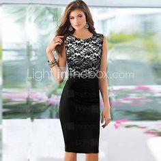 Women's Lace Splicing Sleeveless Bodycon Dress - BRL R$ 44,93