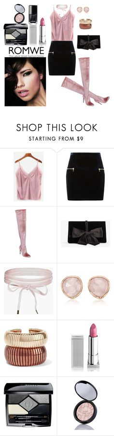 """""""Romwe"""" by elza-345 ❤ liked on Polyvore featuring Sandro, Steve Madden, Ann Taylor, Boohoo, Monica Vinader, Rosantica, Lipstick Queen, Christian Dior, Anastasia Beverly Hills and Chanel"""