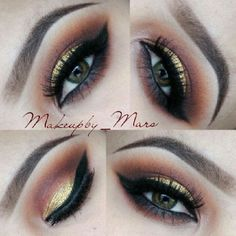 Brown and Gold eye shadow look.@makeupby_mars