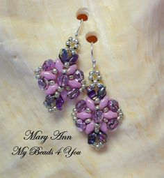 SuperDuo Beadwoven Earrings, Bridesmaid Jewelry Gift, Beadwork Earrings, Crystal Earrings, Beaded Earrings, SuperDuo Beads, Jewelry Gift