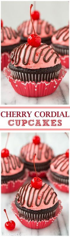 Cherry Cordial Chocolate Cupcakes - these taste JUST like a cherry cordial! So decadently delicious! Cupcake papers are adorable Cupcake Muffin, Cupcake Cakes, Cup Cakes, Rose Cupcake, Cupcake Toppers, Just Desserts, Delicious Desserts, Baking Desserts, Cupcake Recipes