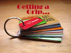 Keyring + whole puncher = all your gift  discount cards organized in your purse! Great Idea  a smaller wallet!
