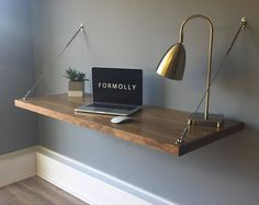 Floating Desk  Wall Mounted Desk  Walnut