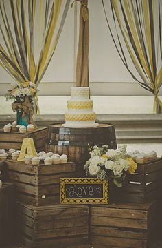 Gray + Yellow | Rustic Wedding Chic | Dessert Display | #WeddingCake | Patrick Hadley Photography