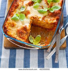 classic cooked lasagna on baking sheet