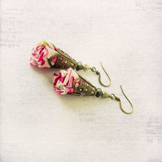 Pendant fabric earrings, cotton, Czech glass beads, pink, hot pink, green, white.. €16.00, via Etsy.
