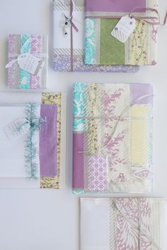 nice idea for using up bits of left over wrapping paper or images from magazines and some washi tape