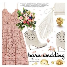 """Best Dressed Guest: Barn Weddings"" by totwoo ❤ liked on Polyvore featuring self-portrait, The Volon, Marc Jacobs, bestdressedguest and barnwedding"
