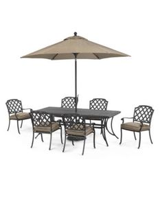 """Grove Hill Outdoor Cast Aluminum 7-Pc. Dining Set (84"""" x 38"""" Dining Table and 6 Dining Chairs) 